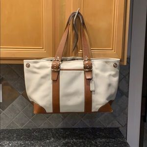 Coach cream tote with brown leather details,silver